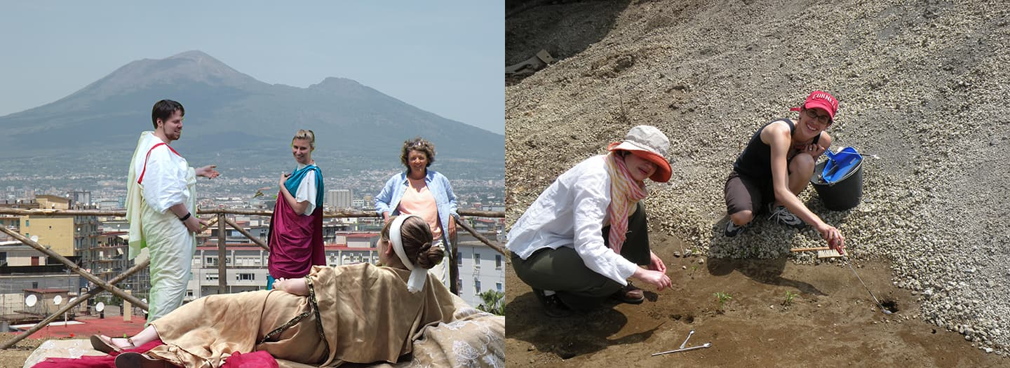 NilsNiemeier, Kaja Tally and Jessica Plant against a green screen image of Prof. Gleason at the Garden of Villa Ariana; and Lizzy Macaulay Lewis '00 and Amina Aicha Malek clearing root cavities next to unexcavated lapilli (volcanic ash).