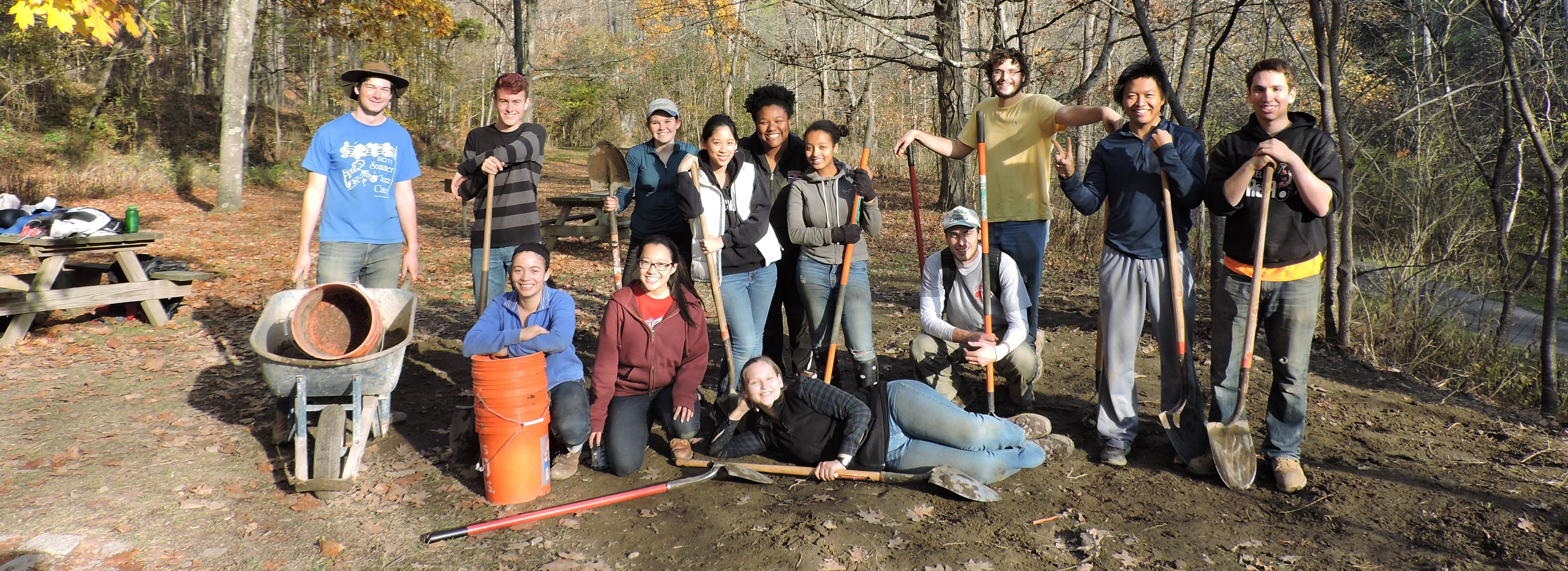 Students on the archaeological crew on the last day of 2016 excavation at Treman