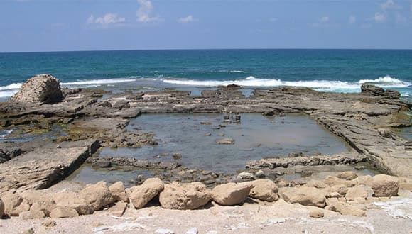 Archaeological ruins near the ocean