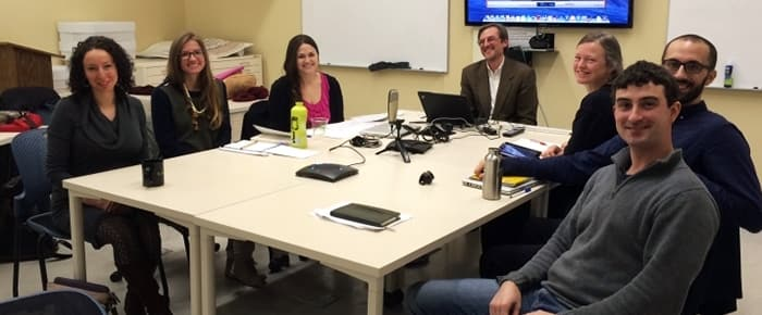 CIAMS faculty and students record a podcast with a visiting scholar
