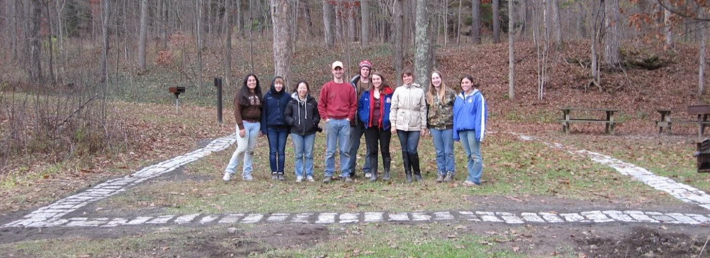 archaeology students at historic site